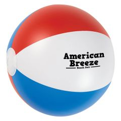 personalized red, white, and blue beach ball with imprint on front