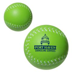 personalized green baseball stress reliever with imprint on middle