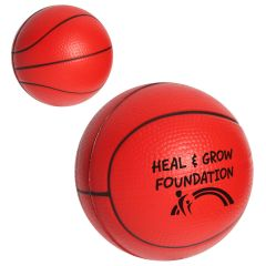 personalized basketball stress reliever with imprint on front