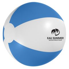 personalized blue and white beach ball with imprint on front