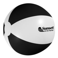 personalized white and black beach ball with imprint on front