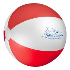 personalized red and white beach ball with imprint on front