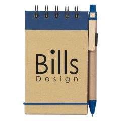 personalized blue and natural note pad with matching pen and strap closure