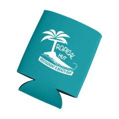 personalized teal can cooler with imprint on front