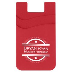 red dual pocketed cell phone wallet with an imprint saying bryan ryan education foundation