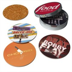 pack of coasters with a tin container