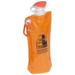 orange collapsible water bottle with a flip-top, carabiner, and an imprint saying Arterbury University