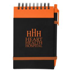 personalized orange notepad with matching pen and strap closure