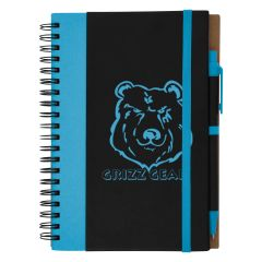 personalized blue and black spiral notebook with matching pen and strap closure