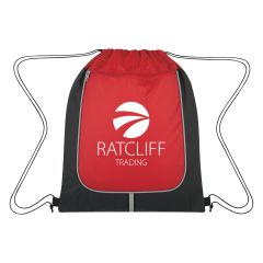 personalized drawstring bag with front zippered pocket and reflective strip