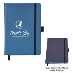 personalized blue color changing journal with strap closure, elastic pen loop, and an imprint saying heron's sky research labs