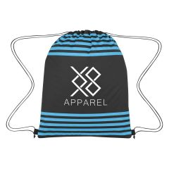 personalized drawstring bag with colored stripes