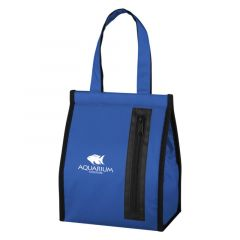 lunch bag with carry handle and front zipper pocket