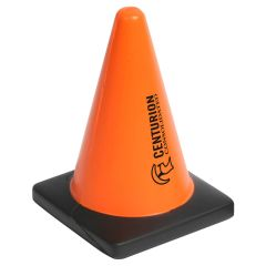 personalized orange and black construction cone with imprint on side