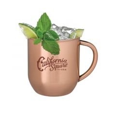 copper-plated mug with lime, ice, and mint on top with an imprint on the cup saying california square