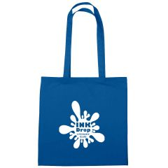 blue cotton tote bag with an imprint saying ink drop literary club