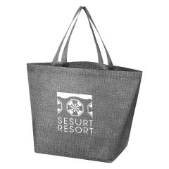 gray crosshatch tote bag with an imprint saying sesurt resort