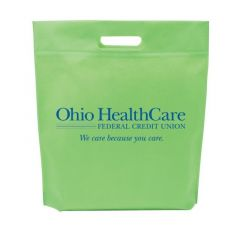green non-woven tote bag with a die-cut handle and an imprint saying Ohio HealthCare Federal Credit Union with We care because you care text below