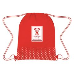 personalized polka-dotted drawstring bag with drawstring closure