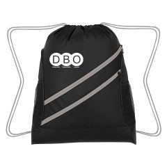personalized drawstring bag with 2 mesh pockets and 2 front zippered pockets