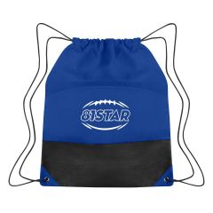 personalized non-woven drawstring bag with outside pocket and drawstring closure