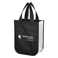 black and white tote bag with black carrying handles and an imprint saying meritain health