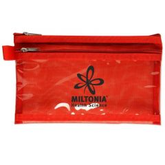 personalized red pouch with two zippers