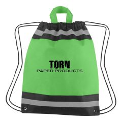 personalized non-woven drawstring bag with carrying handles, reflective strip accents, and drawstring closure