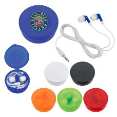 Earbuds with Travel Protective Plastic Case