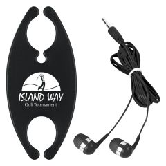 black earbud organizer with matching colored earbuds tied up with a cable tie. on the organizer, there's a logo of a golfer mid swing and text below saying island way golf tournament