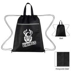personalized drawstring bag with carrying handles and front pocket