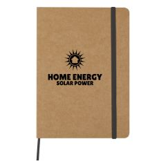 Eco-inspired journal with black bookmark and strap and an imprint saying home energy solar power