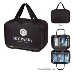 a group of black toiletry bags with multiple compartments inside and an imprint saying Sky Parks Online Tour package