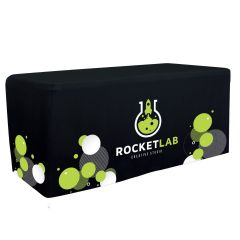 personalized black table cover with full color imprint design