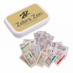 personalized tin first aid kit with included emergency supplies
