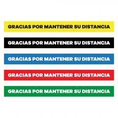 Gracias Por Mantener Su Distancia Floor Decal in yellow, black, blue, red, and green