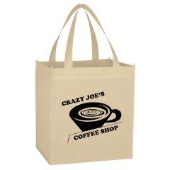 natural non-woven tote bag with an imprint crazy joe's coffee shop