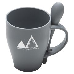 gray mug with matching removable spoon and an imprint saying cypress point camping
