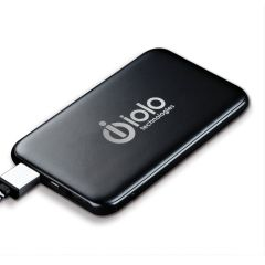 black power bank with an imprint saying oiolo technologies
