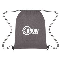 gray drawstring bag with an imprint saying know knowledge