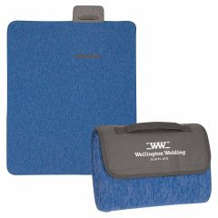 blue blanket that rolls up with an imprint saying wellington welding supplier