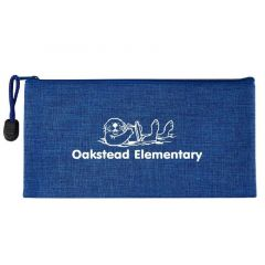 personalized blue heathered pouch with zippered main compartment