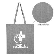 gray heathered tote bag with an imprint saying respite healthcare