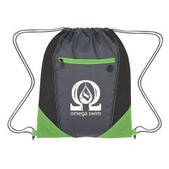 black drawstring bag with green trims, front zippered pocket, earbud slot, mesh corners, and an imprint on the front saying omega swim