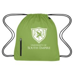 personalized drawstring bag with front zippered pocket and earbud slot