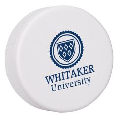 personalized white hockey puck with imprint on middle