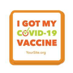 covid vaccine sticker with area for customization