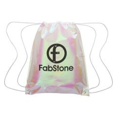 Iridescent Pearl drawstring bag with reinforced eyelets