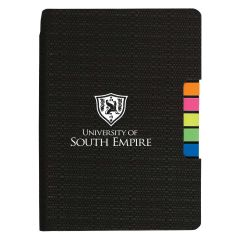 personalized black journal with sticky flags in multiple colors and an imprint on the front of the journal saying university of south empire