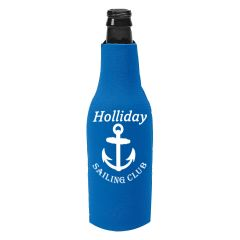 blue kozzie bottle cooler with an imprint saying holliday sailing club